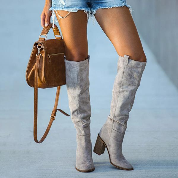 Sandalsvibe Distressed Faux Suede Slouch Boots