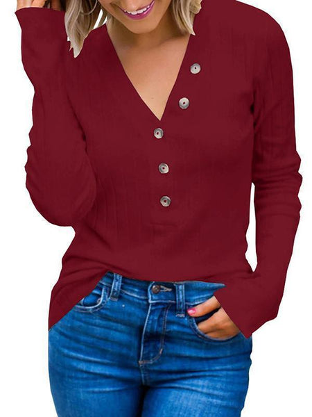 Sandalsvibe Ribbed Button Up Knit Henley Top