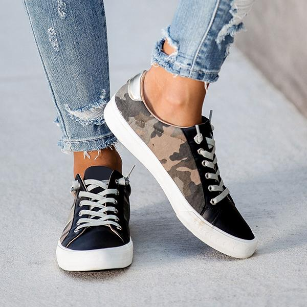 Sandalsvibe Summit Faux Leather Camo Sneakers