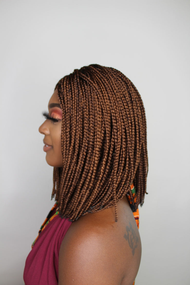 Bob Braided Wig with Lace Closure in Color 30 - MyHairGold