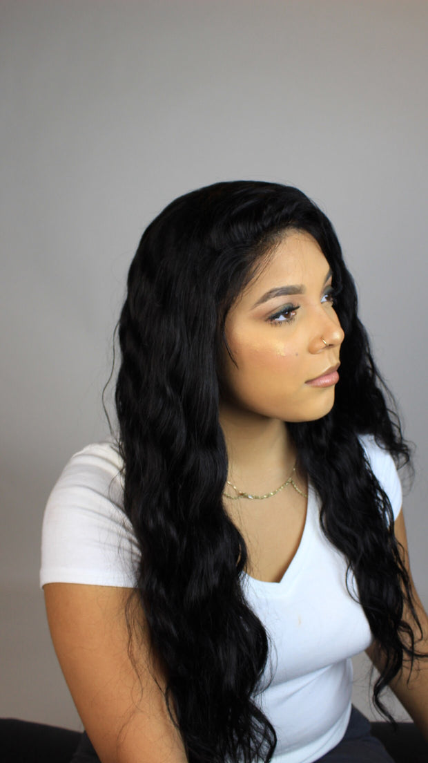 100% Virgin Human Hair Full Lace Wig - Brazilian Natural Loose Wave - MyHairGold