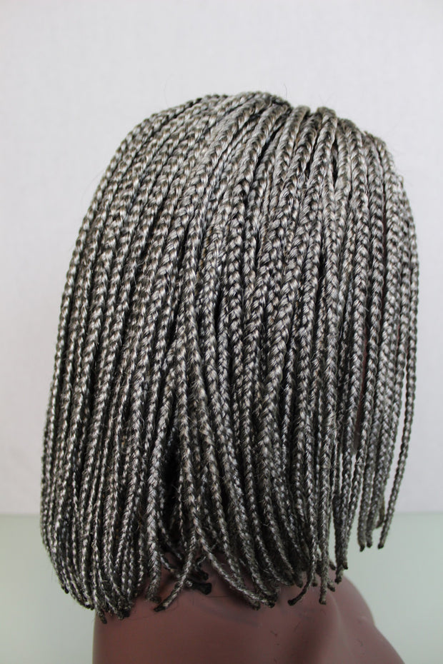Glue-less Gray Bob Braided Wig