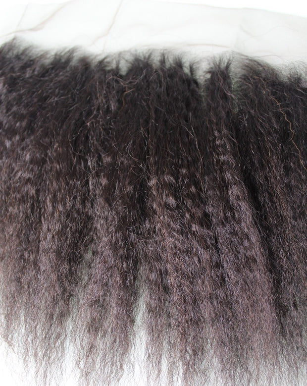 13 x4 lace frontal Yaki kinky Coarse Human Hair