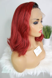 100% Yaki Human Hair Bob Red with Dark Roots - MyHairGold