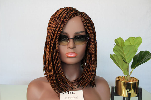 Color 30 Bob Braided Wig with Lace Closure