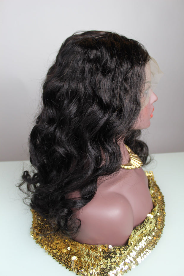 100% Virgin Remy Wavy Full Frontal Wig - MyHairGold