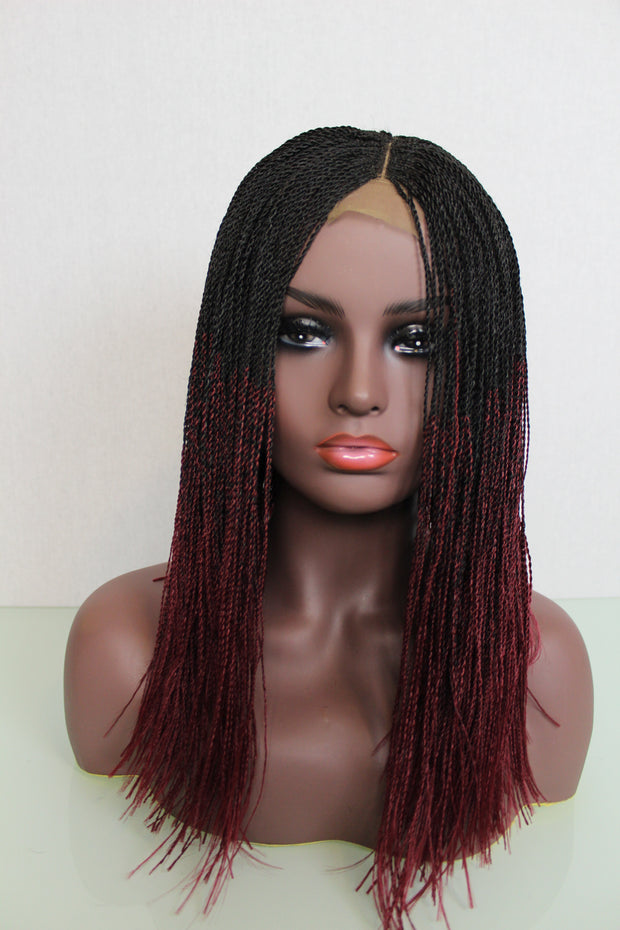 "Microtwists Wig 14"" Shoulder Length Ombré Black and Wine twists"