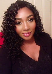 Bouncy Deep Curls Keratin Synthetic Lace Front Wig - MyHairGold