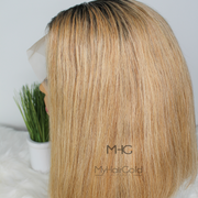 Blonde Bob Wig with Dark Roots - MyHairGold
