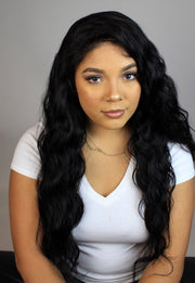 100% Virgin Remy Human Hair Full Lace Wig - Brazilian Natural Loose Wave