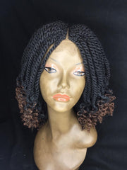 Medium Sized Twists Braided Wig with Ombré Curls
