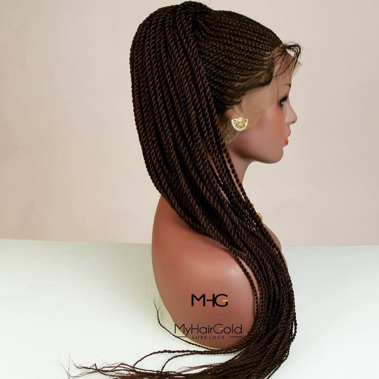 360 Lace Frontal Twists Braided Wig - MyHairGold