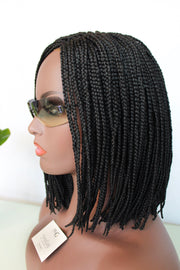Short Bob Braided Wig with Lace Closure and Elastic Band - MyHairGold