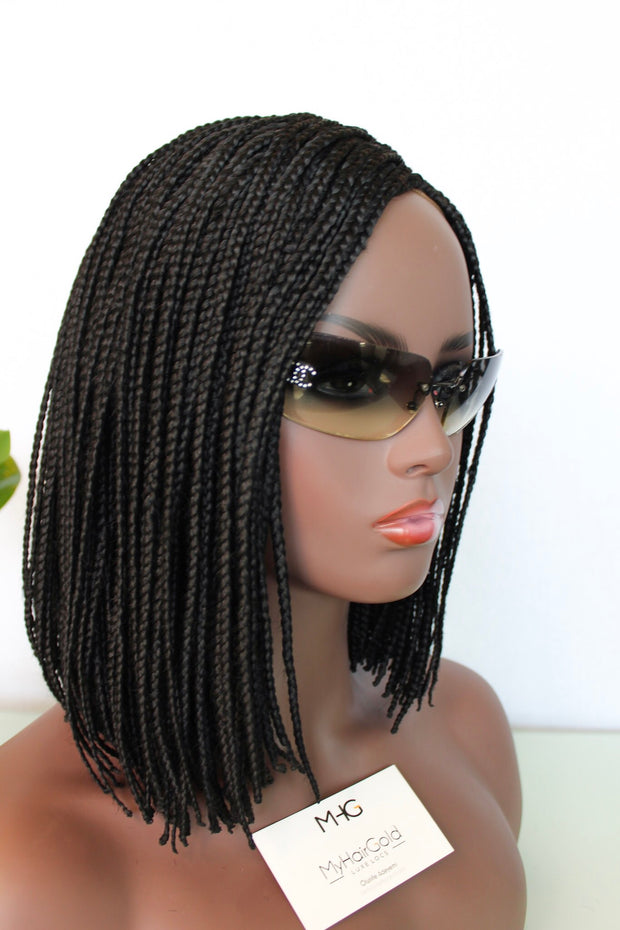 Short Bob Braided Wig with Lace Closure and Elastic Band