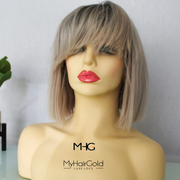 Custom Cut Ash Blonde Bob Wig with Bangs 10""