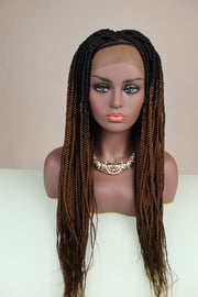 Ombré Box Braids Black & Wine Color