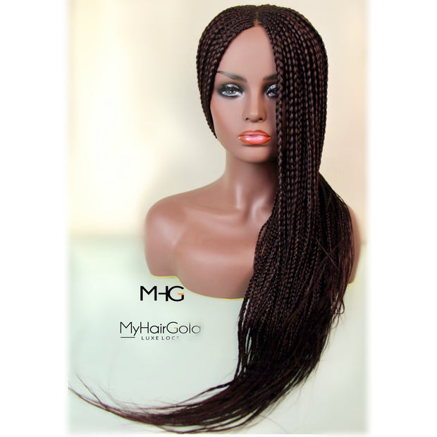 Braided Wig - Dark Auburn Chocolate Long Box Braids