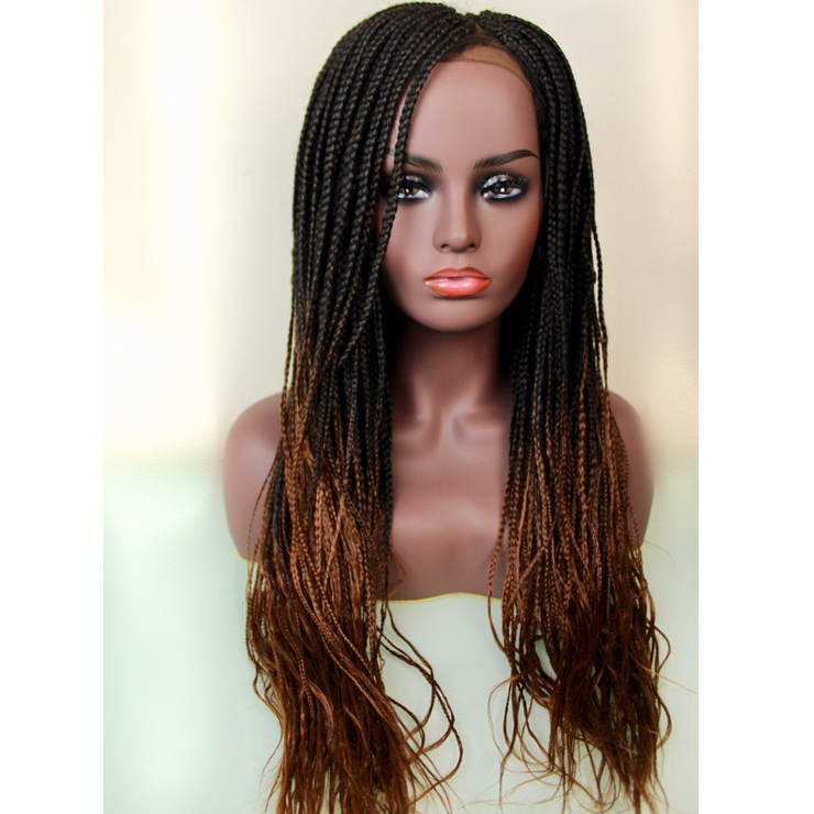 Braided Wig - Ombré Chocolate and Dirty Blonde w/ 3-Part Closure - MyHairGold