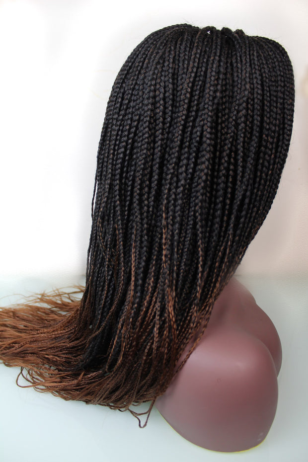 Braided Wig - Ombré Chocolate and Dirty Blonde w/ 3-Part Closure