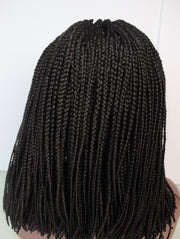 "12"" Braided Bob Wig with three part ghana braided Front"