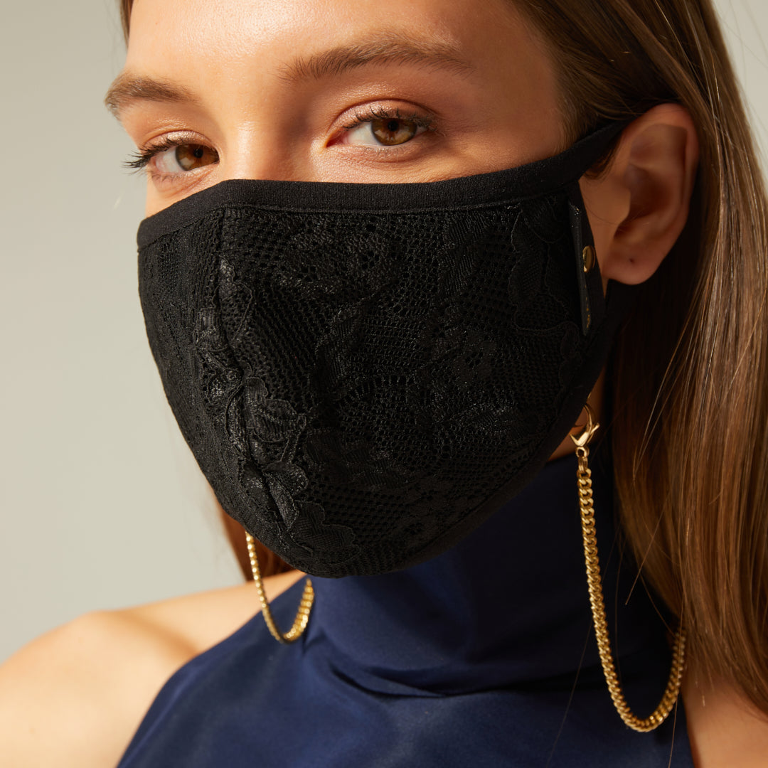 Chloe Lace Mask with Chain - Black/Gold Accessories Bandolier