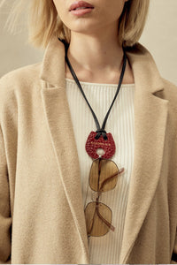 The Bolo Eyeglass Tie - Red/Gold