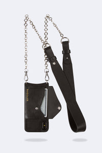 Anna Pebble Leather Crossbody Bandolier - Black/Silver