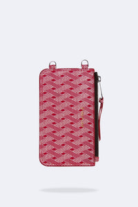 Amelia Dot/Checkered Pattern Pouch - Red Dot/Chex/Silver