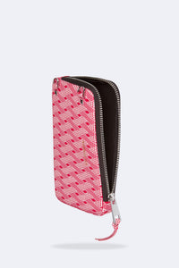 Amelia Dot/Checkered Pattern Expanded Zip Pouch - Red Dot/Chex/Silver