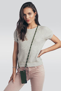 Sarah Pebble Leather Crossbody Bandolier - Cactus/Silver