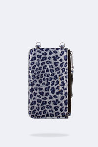 Emma Cheetah Metallic Leather Pouch - Blue/Silver