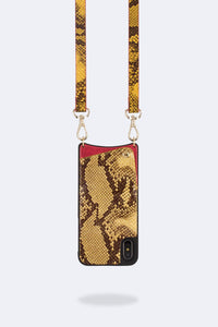 Emma Snake Print Crossbody Bandolier - Yellow/Gold