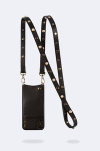 Julie Pearl Pebble Leather Crossbody Bandolier - Black/Gold
