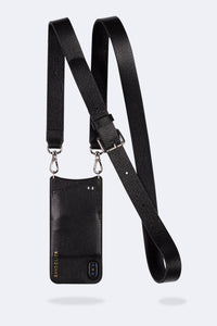 Kelly Pebble Leather Crossbody Bandolier - Black/Silver