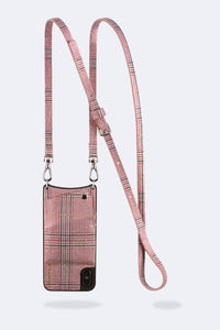 Emma Plaid Glen Leather Crossbody Bandolier - Red/Silver