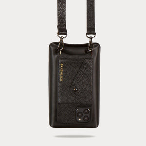 Gemma Samsung 10 Series Side Slot Pebble Leather Crossbody Bandolier - Black/Pewter Accessories Bandolier