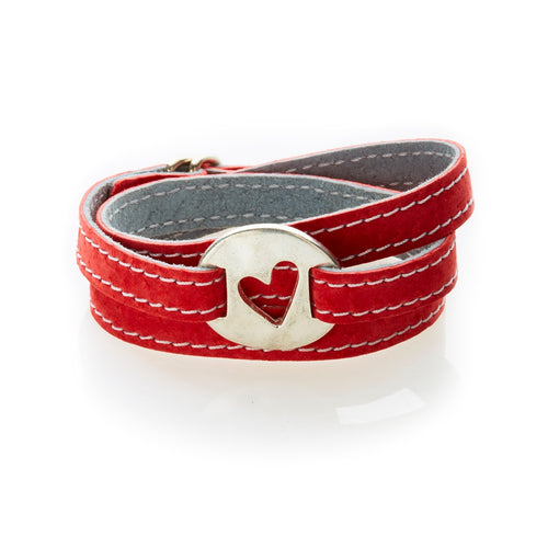 BOLD Reversible suede Bracelet & Choker Heart Cut Out - Red/Dark Grey - No Memo