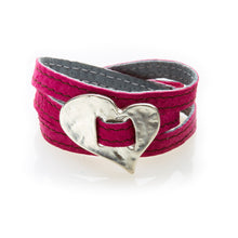 Load image into Gallery viewer, BOLD Reversible suede Bracelet & Choker Skew Heart - Pink/Charcoal Grey - No Memo