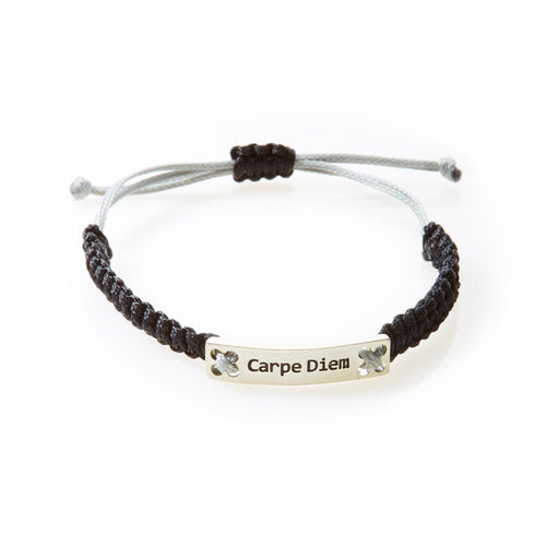 CHAMP Macrame Bracelet Carpe Diem - Black/Light Grey - No Memo