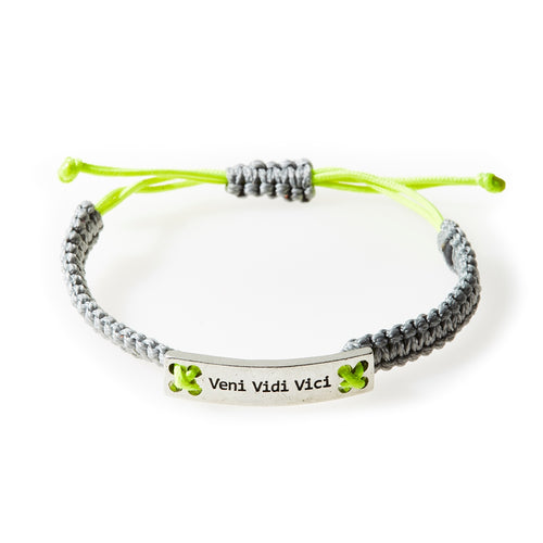 CHAMP Macrame Bracelet Veni Vidi Vici - Light grey/Neon Lime - No Memo
