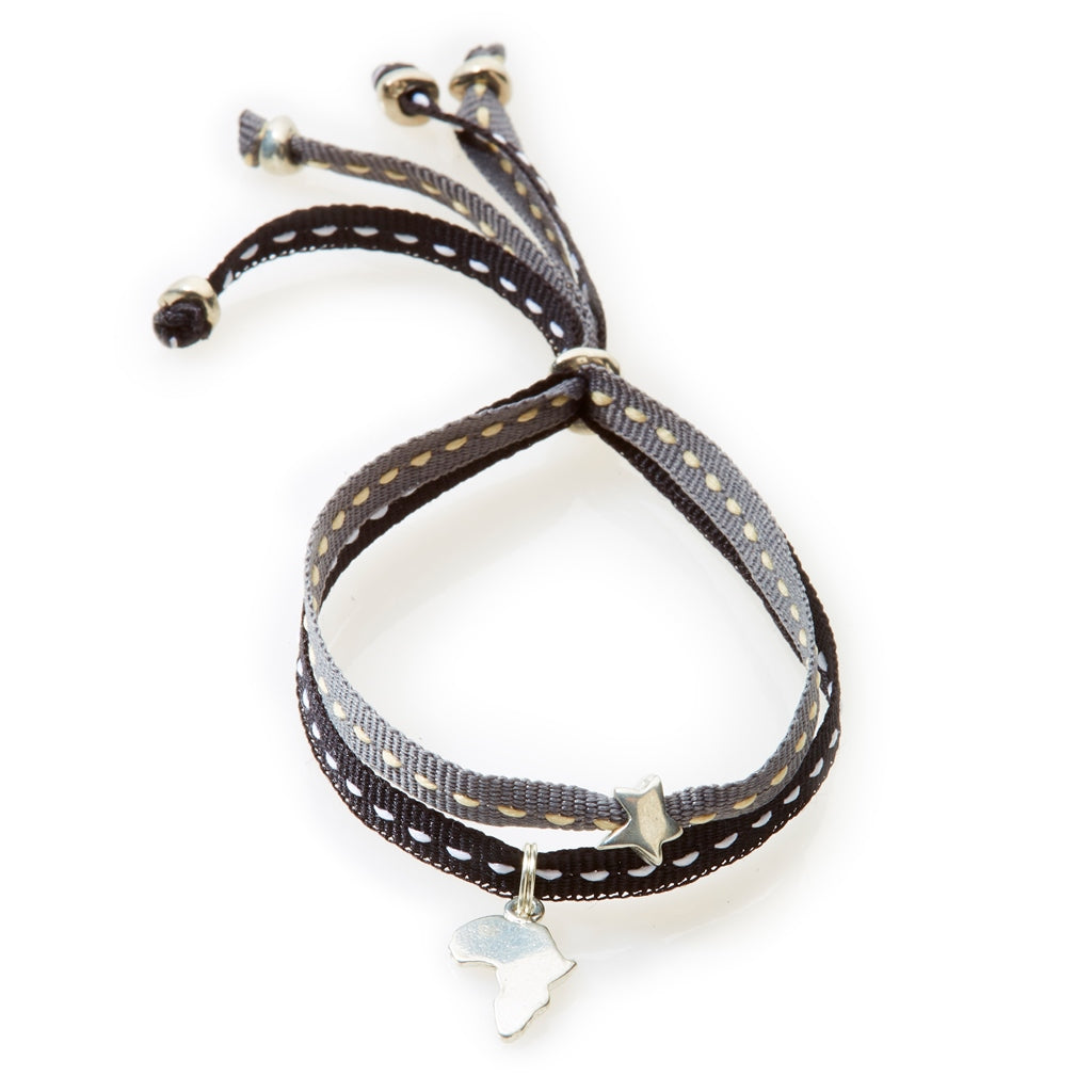 CHEEKY Bracelet with ribbons Africa - Black/Dark Grey - No Memo