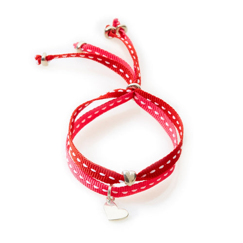 CHEEKY Bracelet with ribbons Heart - Cerise/Red - No Memo