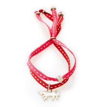 Load image into Gallery viewer, CHEEKY Bracelet with ribbons Horse - Cerise/Red - No Memo