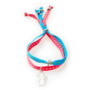 CHEEKY Bracelet with ribbons Meerkat - Turquoise/Cerise - No Memo