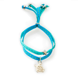 CHEEKY Bracelet with ribbons Turtle - Emerald/Turquoise - No Memo