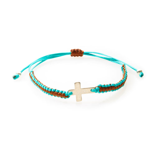 COOL Macrame Bracelet Cross - Teal/Brown - No Memo