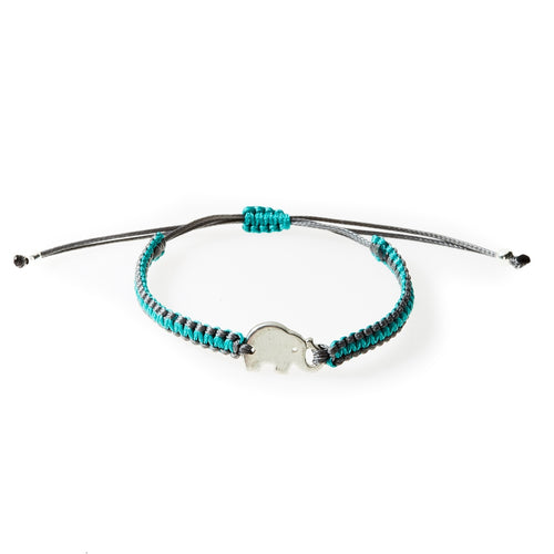 COOL Macrame Bracelet Elephant - Dark Grey/Teal - No Memo