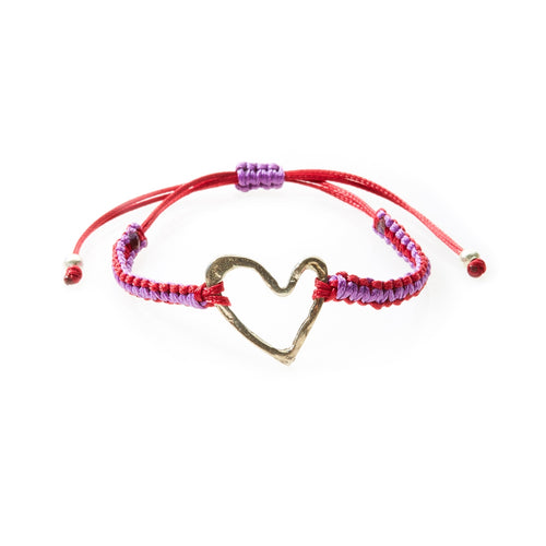 COOL Macrame Bracelet Heart - Red/Purple - No Memo