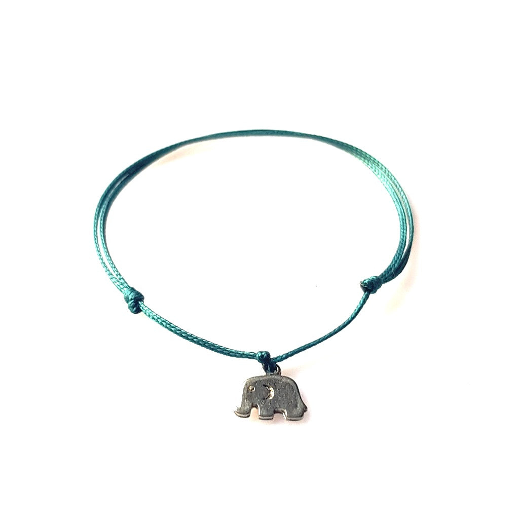 DAINTY Single Thread Bracelet Elephant - Emerald - No Memo