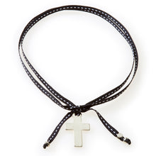 Load image into Gallery viewer, FEISTY Ribbon Necklace & Choker Cross - Black - No Memo